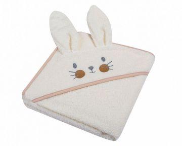 """Rankšluostis vaikui su zuikio ausytėmis / aplikacija """"Bunny"""" 80x80 cm"""