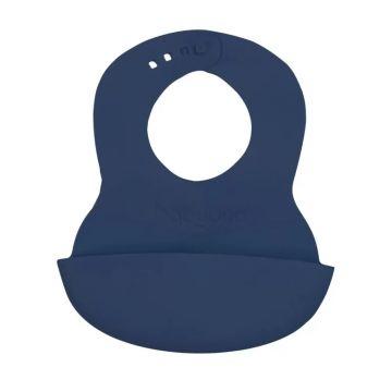 Minkštas seilinukas kūdikiui su reguliuojamu užsegimu, mėlynas